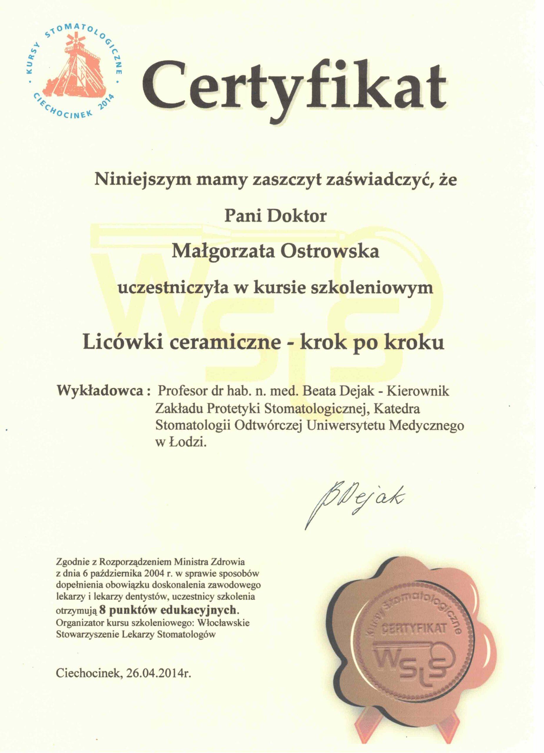 licówki ceramiczne kwalifikacje gabinet stomatologiczny łódź