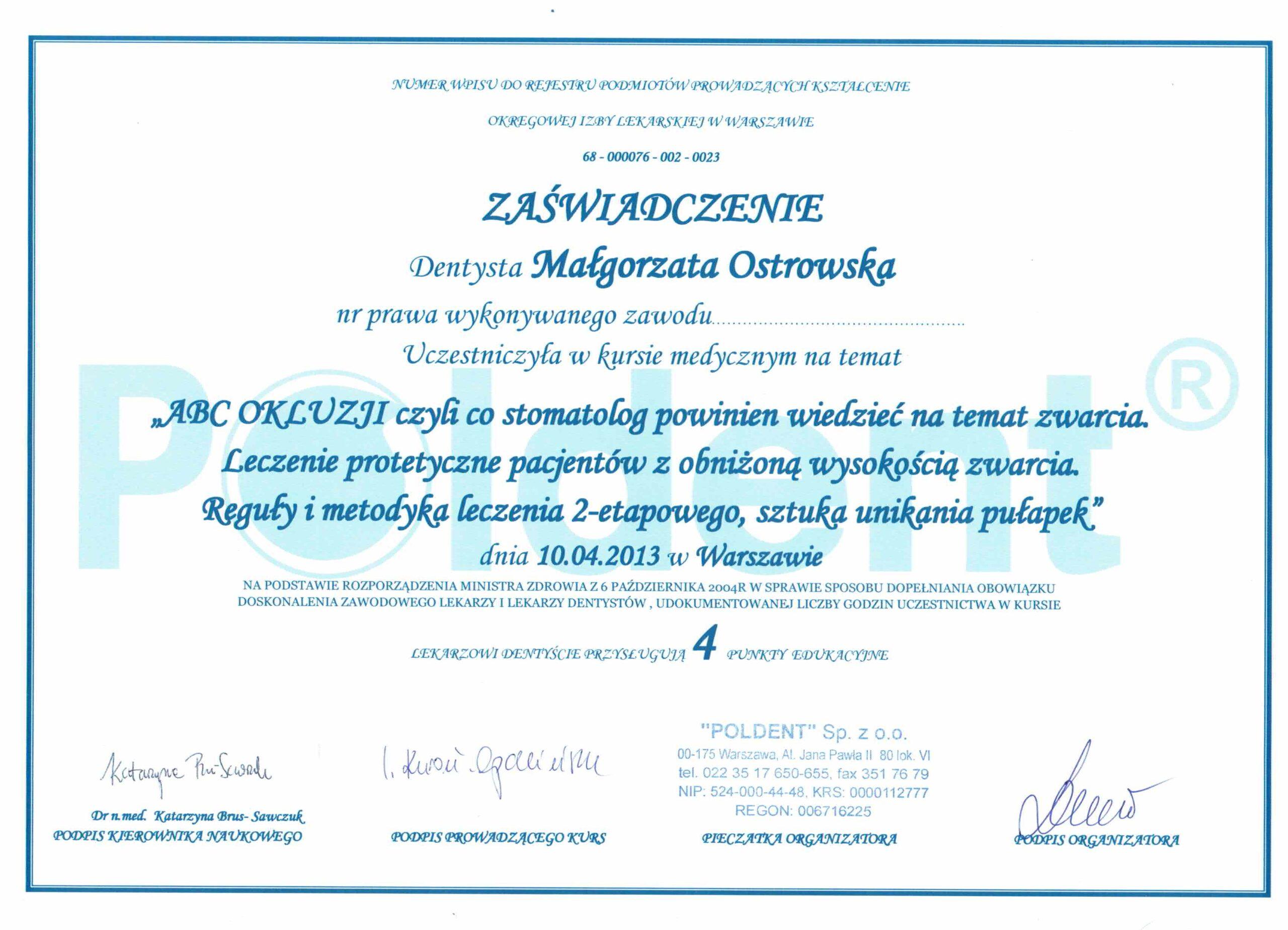 okluzja kwalifikacje dentysta szczecin